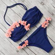 Pánt nélküli virágos bikini 3 színben