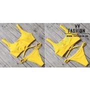 Patentos bikini sárga színben