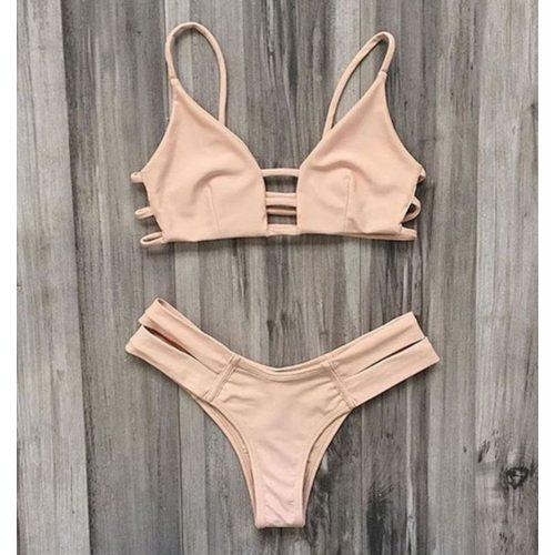 Púderrózsaszín pántos bikini