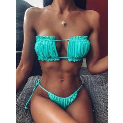Pánt nélküli bikini türkiz színben