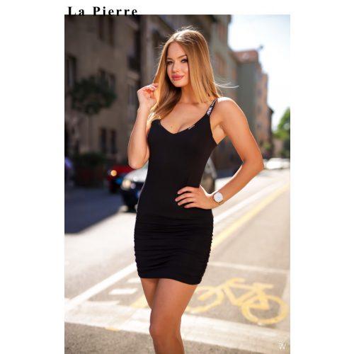 La Pierre fekete V kivágású miniruha