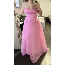 Különleges pánt nélküli alkalmi maxiruha rózsaszín színben