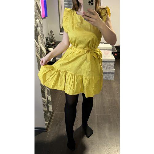 Derékban megkötős ruha sárga színben