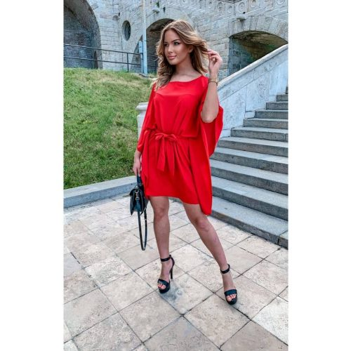 Kaftán miniruha piros színben