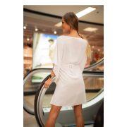 Kaftán miniruha törtfehér színben