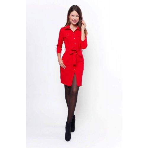 Megkötős, gombos ingruha piros színben