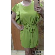 Derékban megkötős fodros ujjú ruha banánzöld színben
